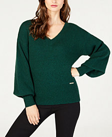 MICHAEL Michael Kors Bishop-Sleeve Banded-Hem Sweater