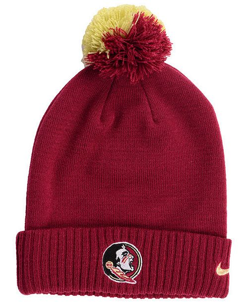 official photos ffb67 ba183 ... Nike Florida State Seminoles Beanie Sideline Pom Hat ...