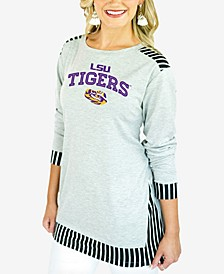 Women's LSU Tigers Striped Panel Long Sleeve T-Shirt