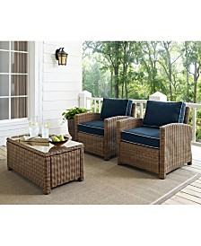 Bradenton 2 Piece Outdoor Wicker Seating Set With Cushions - 2 Arm Chairs