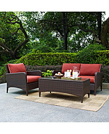 Kiawah 3 Piece Outdoor Wicker Seating Set With Sangria Cushions - Loveseat, Arm Chair And Glass Top Table