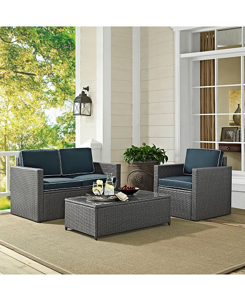 Crosley Palm Harbor 3 Piece Outdoor Wicker Seating Set In Wicker With Cushions - Loveseat, Coffee Table And 1 Arm Chair