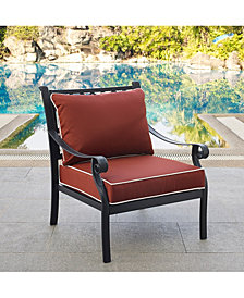 Portofino Cast Aluminum Arm Chairs With Sangria Cushions (Set Of 2)