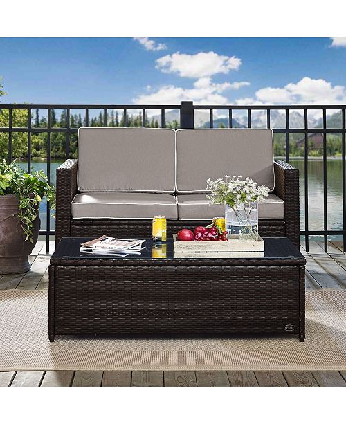Crosley Palm Harbor 2 Piece Outdoor Wicker Seating Set With Cushions- Loveseat And Glass Top Table