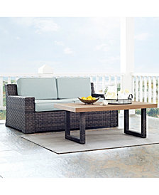 Beaufort 2 Piece Outdoor Wicker Seating Set With Mist Cushion - Loveseat, Coffee Table