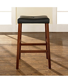 "Upholstered Saddle Seat Bar Stool With 29"" Seat Height (Set Of 2)"