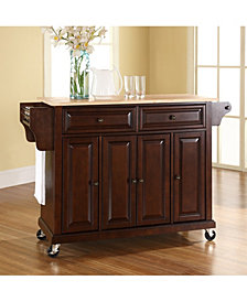 Natural Wood Top Kitchen Cart Island