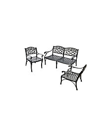 Sedona 3 Piece Cast Aluminum Outdoor Conversation Seating Set - Loveseat And 2 Club Chairs