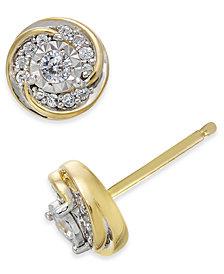Diamond Swirl Round Stud Earrings (1/4 ct. t.w.) in 10k Gold