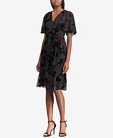 Lauren Ralph Lauren Velvet-Trim Floral-Embroidered Wrap Dress