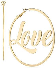 Thalia Sodi Gold-Tone Love Hoop Earrings, Created for Macy's