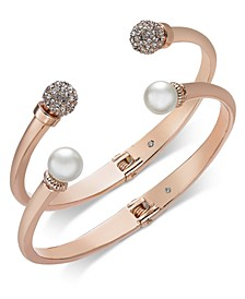 2-Pc. Set Pavé Bead & Imitation Pearl Cuff Bracelets, Created for Macy's