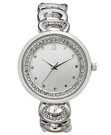 Charter Club Women's Silver-Tone Link Bracelet Watch 33mm, Created for Macy's