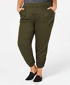 Style & Co Plus Size Ruched Jogger Pants, Created for Macy's