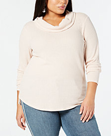 Style & Co Plus Size Waffle-Knit Cowl-Neck Top, Created for Macy's