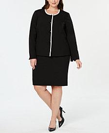 Le Suit Plus Size Piped Skirt Suit