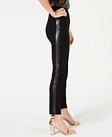 I.N.C. Curvy Faux-Leather-Stripe Skinny Pants, Created for Macy's