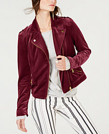 I.N.C. Velvet Moto Jacket, Created for Macy's