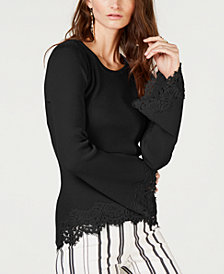 I.N.C. Petite Lace-Trim Bell-Sleeve Top, Created for Macy's