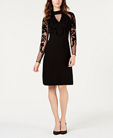 I.N.C. Flocked-Velvet Sweater Dress, Created for Macy's