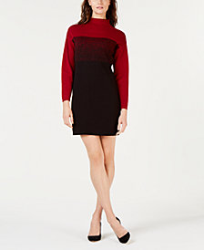 Anne Klein Ombré Colorblocked Mock-Neck Shift Dress