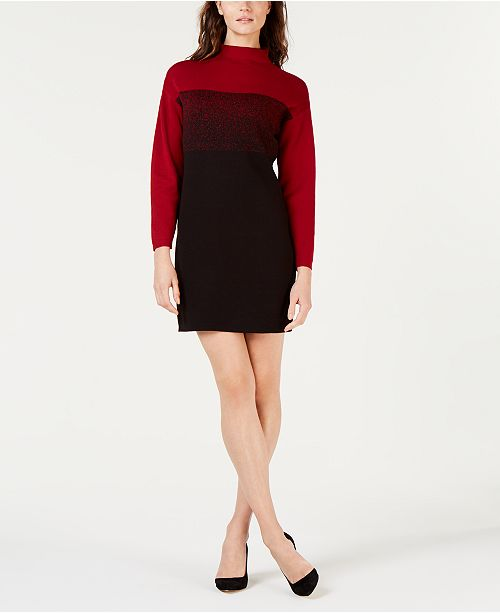 8d282f6d3d Anne Klein Ombré Colorblocked Mock-Neck Shift Dress - Dresses ...