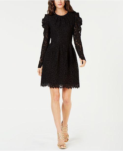 Michael Kors Puff-Sleeve Floral Lace Dress - Dresses - Women - Macy s 23fb67bd47