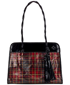 Patricia Nash Paris Tartan Plaid Leather Satchel