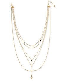 "RACHEL Rachel Roy Gold-Tone Crystal Multi-Layer Lariat Necklace, 15"" + 2"" extender"