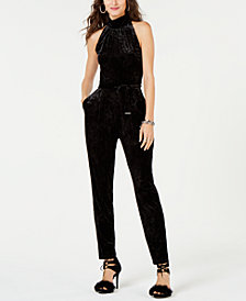 MICHAEL Michael Kors Mock-Neck Velvet Jumpsuit, Regular & Petite