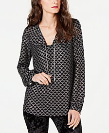 MICHAEL Michael Kors Chain-Detail Printed Top, Regular & Petite