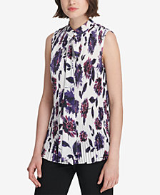 DKNY Printed Pleated Tie-Neck Top, Created for Macy's