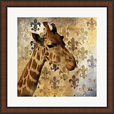 Golden Safari Iii- Giraffe By Patricia Pinto Framed Art