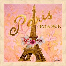 Gold Paris Eiffel by Janice Gaynor Framed Art