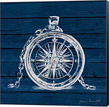 Compass on Blue Wood by Lanie Loreth Canvas Art