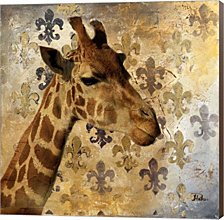 """Golden Safari Iii- Giraffe By Patricia Pinto Canvas Art - 24"""" x 24"""""""