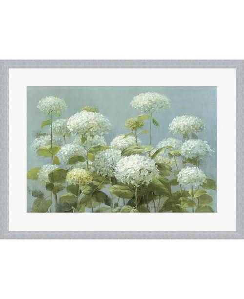 Metaverse White Hydrangea Gard By Danhui Nai Framed Art