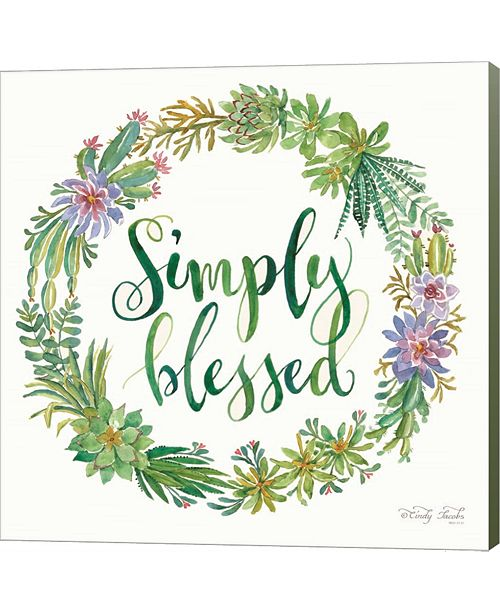 Metaverse Simply Blessed Succulent Wreath By Cindy Jacobs Canvas Art