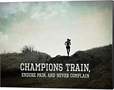 Champions Train Woman Black and White by Sports Mania Canvas Art