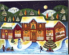 Christmas Country Shops By Cheryl Bartley Canvas Art