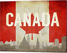 Ottawa, Canada - Flags and Skyline by Take Me Away Canvas Art