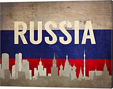 Moscow, Russia - Flags and Skyline by Color Me Happy Canvas Art