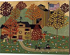 Picking Pumpkins By Medana Gabbard Canvas Art