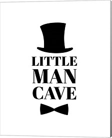 Little Man Cave Top Hat and Bow Tie - White by Color Me Happy Canvas Art