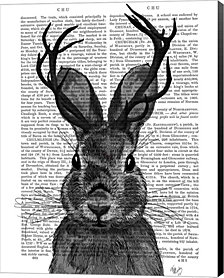 Jackalope with Grey Antlers by Fab Funky Canvas Art