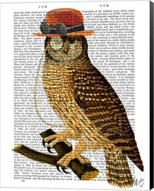 Owl With Steampunk Style Bowler Hat By Fab Funky Canvas Art