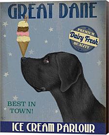 Great Dane, Black, Ice Cream By Fab Funky Canvas Art