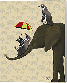 Elephant and Penguins by Fab Funky Canvas Art