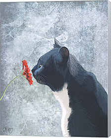 Black Cat Sniffing Flower by Fab Funky Canvas Art