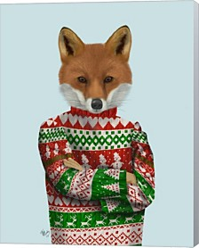 Fox In Christmas Sweater By Fab Funky Canvas Art